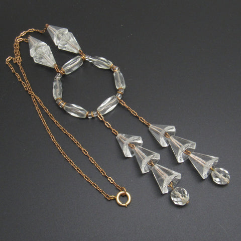 Art Deco Crystal Necklace Choker Tassel Jewelry
