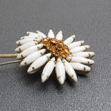 Vintage Rhinestone Daisy on Stem Brooch Milk Glass Jewelry