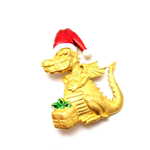 Christmas brooch dragon jj jewelry
