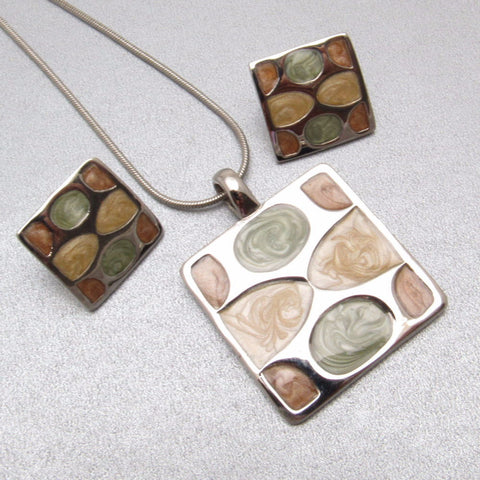 Pastel Enamel Pendant Necklace Earrings Set