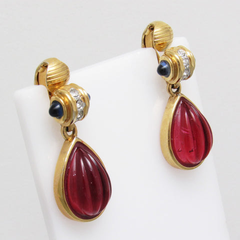 Fluted Cranberry Drop Rhinestone Earrings  Apps   Save