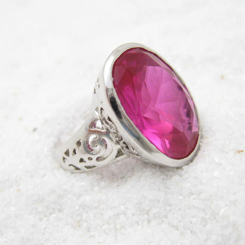 Sterling Ring Large Fuscia Stone