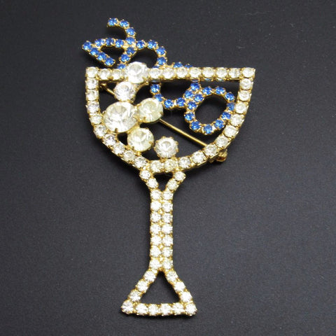 Rhinestone Champagne Glass Brooch 2000 Celebration