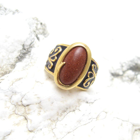 sterling goldstone ring