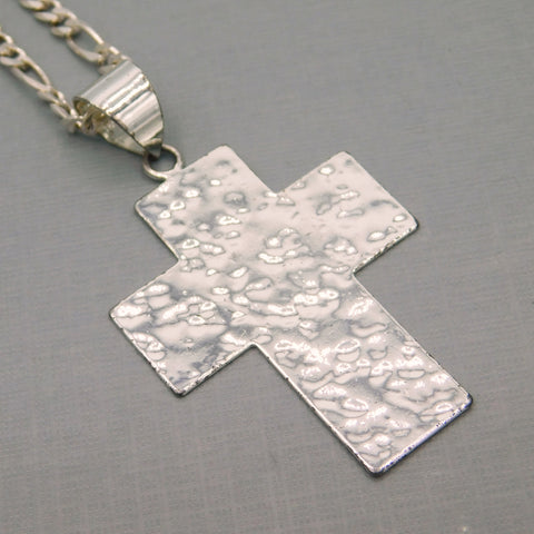 Big Sterling Hammered Cross Necklace with Figaro Chain