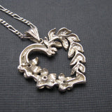 Sterling Heart Pendant Necklace Floral Leaf 3