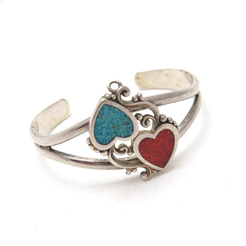 Heart Cuff Bracelet Turquoise and Coral  1