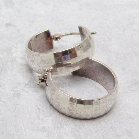 Faceted Sterling Hoop Earrings Italian Jewelry
