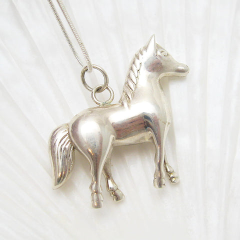 large sterling horse necklace
