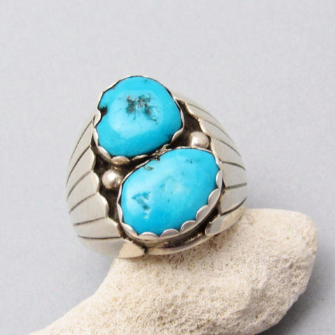 Vintage Navajo Sterling Turquoise Ring Signed Size 12