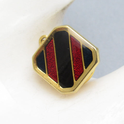 Vintage Striped Tie Tack Enamel Red Black Jewelry
