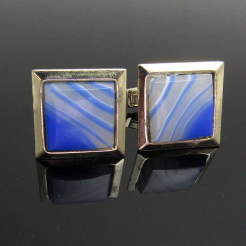Blue Lucite Cufflinks Vintage Mens Jewelry