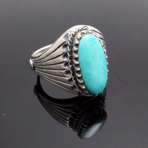 Sterling Turquoise Ring Vintage Mens Jewelry SIze 12