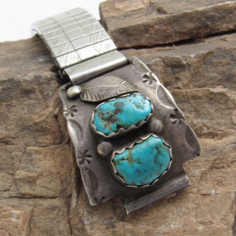 Native American Turquoise Sterling Watch Tips