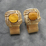 Tiger Eye Cufflinks Vintage Men's Jewelry