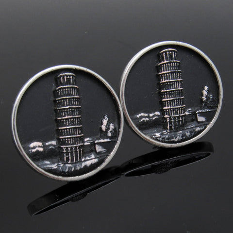 Huge Vintage Cufflinks Tower of Pisa Hickok Jewelry