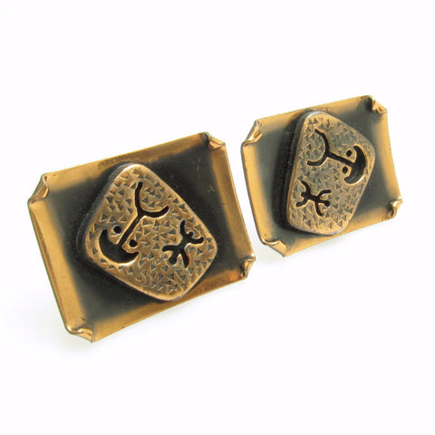 Large Copper Cufflinks Egyptian Hierglyphics Jewelry