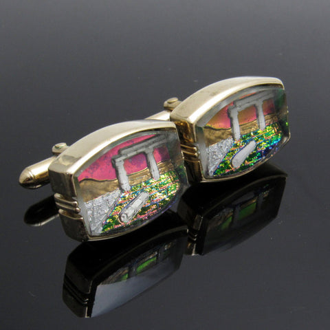 Swank Vintage Cufflinks Crystal Arts of the World