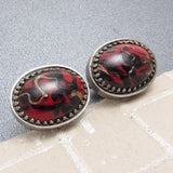 Large Vintage Art Glass Cufflinks Red Black Mens Jewelry
