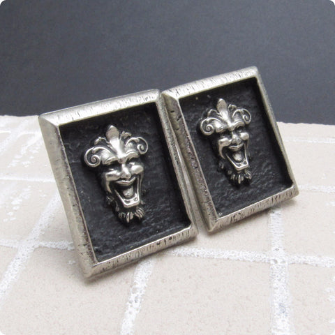 Large Gargoyle Cufflinks Vintage Mens Jewelry Joker