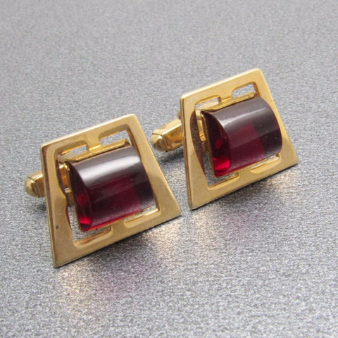 Vintage Cufflinks Deep Red Domed Lucite Mens Anson Jewelry