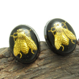 Vintage Lucite Fly Cufflinks Gold Black Jewelry