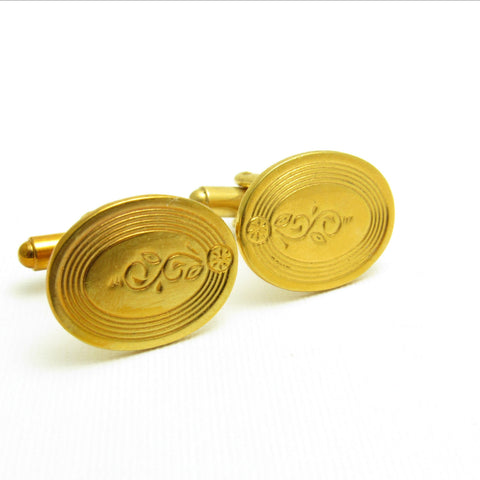 Vintage Cufflinks Gold Scroll Flower Mens Jewelry