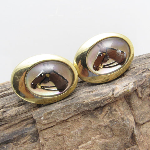 Vintage Horse Cufflinks Reverse Painted Mens Jewelry