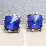 Striking Blue Rivoli Stone Cufflinks Nugget Setting
