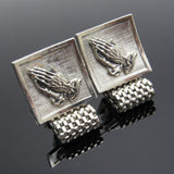 Mesh Praying Hands Cufflinks Vintage Mens Jewelry