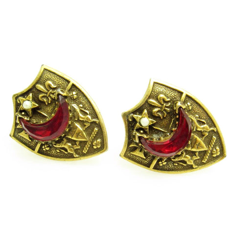 Large Vintage Cufflinks Coat of Arms Crescent Moon Star