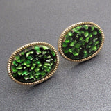 Vintage Cufflinks Green Art Glass Mens Jewelry
