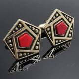 Red Geometric Cufflinks Vintage Anson Cuff Links