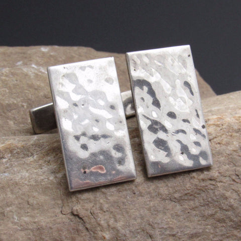Hammered Sterling Cufflinks Vintage Artisan Jewelry