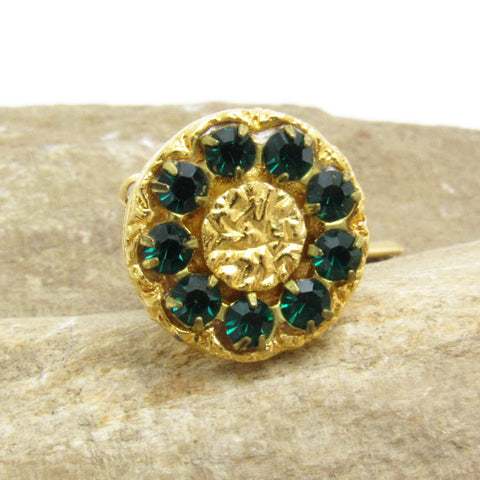 Green Rhinestone Tie Tack Mens Vintage Accessories