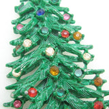 Vintage Christmas Tree Brooch Pin Green Enamel Rhinestones Layered
