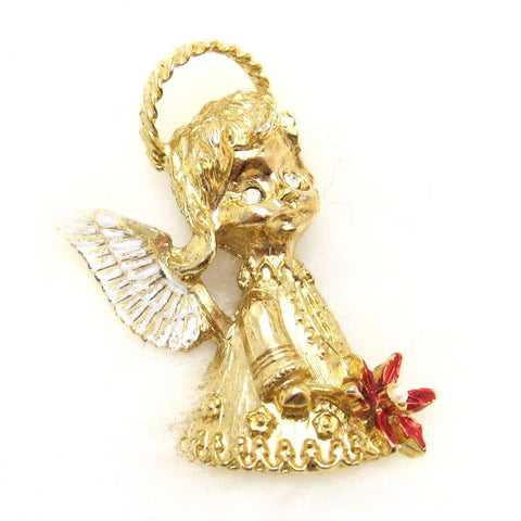 Vintage Christmas Angel with Poinsettia Gerry's Holiday Jewelry