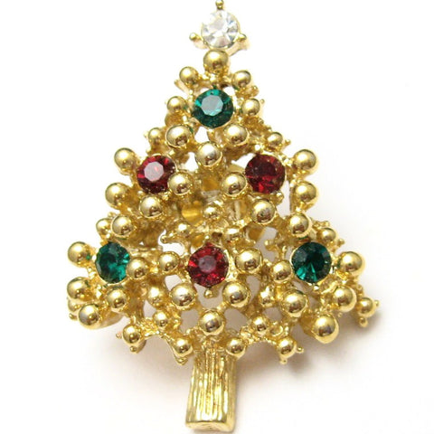 Vintage Christmas Tree Pin Holiday Jewelry
