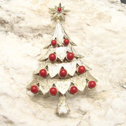 Vintage Christmas Tree Brooch Red Bead Jewelry