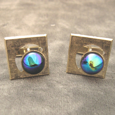 Carnival Glass Cufflinks Vintage Men's Jewelry
