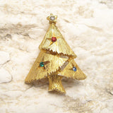Small Christmas Tree Brooch Pin Rhinestone Jewelry