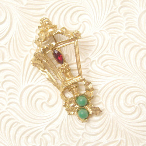Vintage Brooch Street Lamp Holly Christmas Jewelry