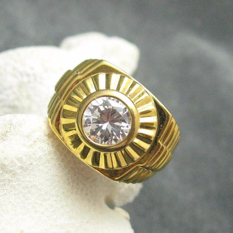 Sterling Ring Rhinestone Gilt Mens Jewelry