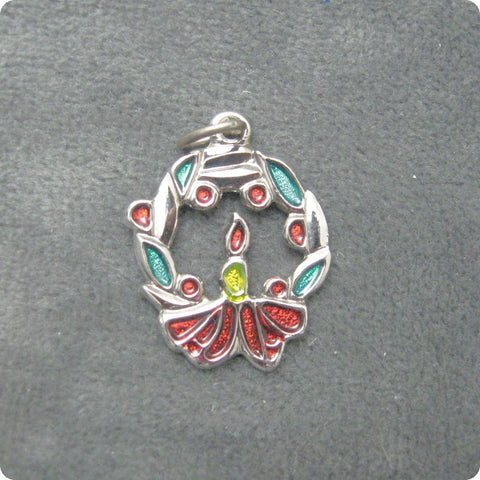 Sterling Enamel Christmas Wreath Charm or Pendant