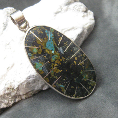 Huge Sterling Boulder Turquoise Pendant Southwestern Jewelry