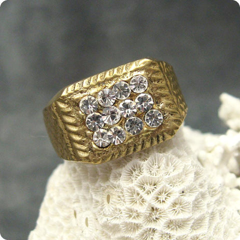 Vintage Rhinestone Brass Ring Men's Jewelry