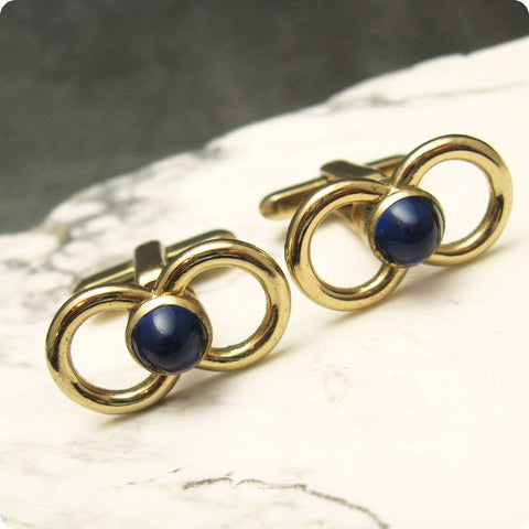 Vintage Cufflinks Figure Eight Blue Men's Accessories