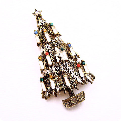 Vintage Christmas Tree Brooch Candle Art