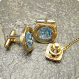 Blue Rhinestone Cufflinks Tie Tack Set Men's Accessories