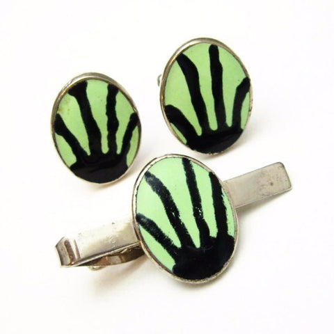 Vintage Cufflinks Tie Bar Set Abstract Alien Mens Jewelry